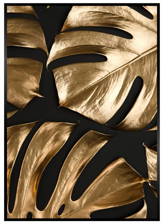Golden Leafs on Black II Poster