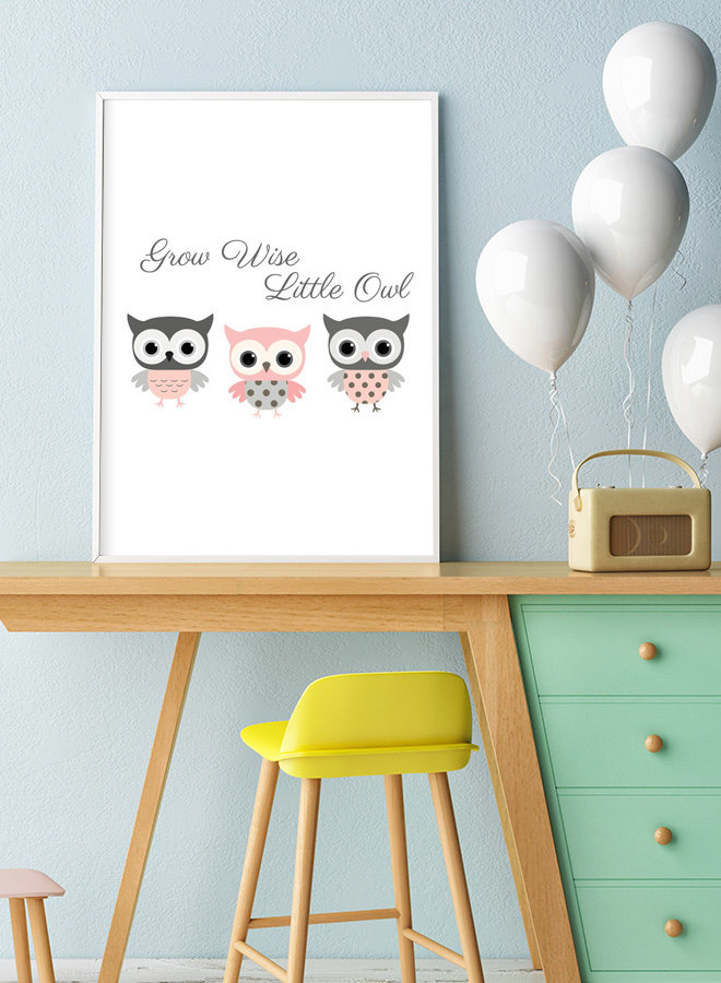 Grow Wise Little Owl Rose Poster