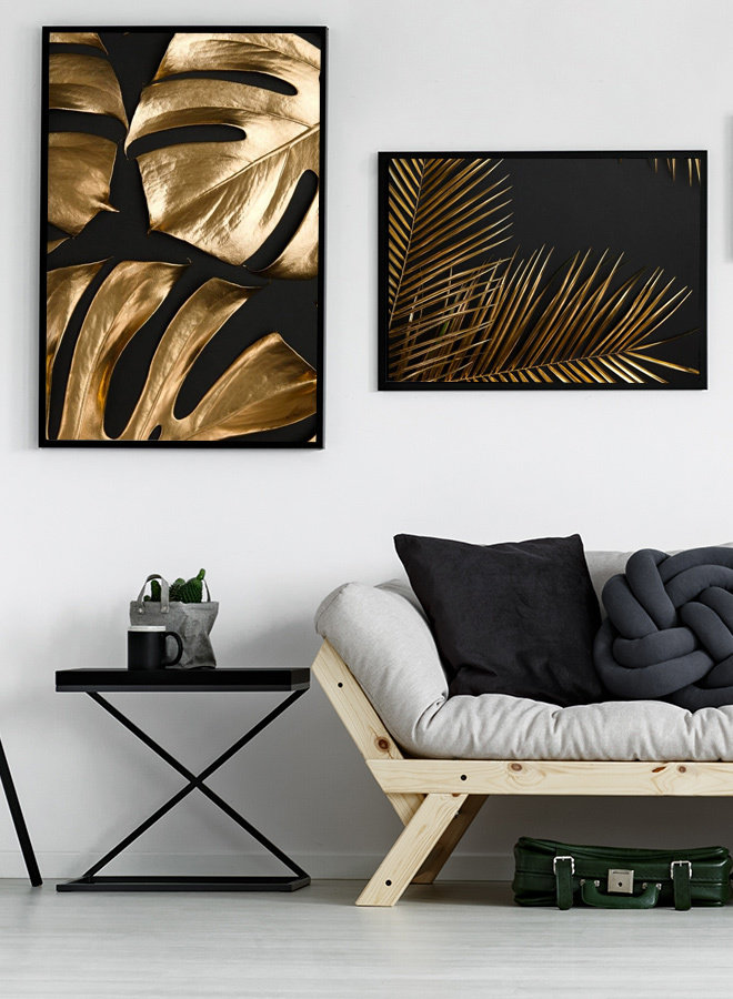 Golden Leafs on Black Poster