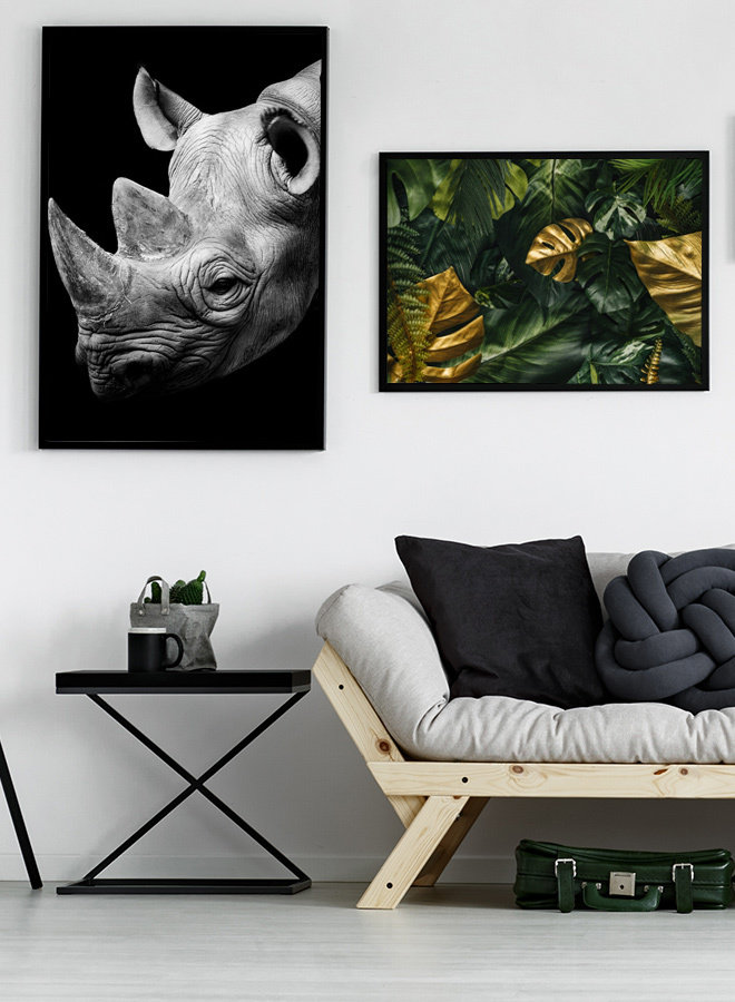 Monstera Leafs Black Poster