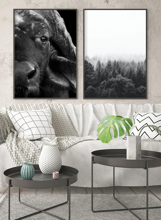 Wildernis Forest Nordic Zwart Wit Poster