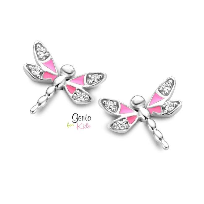 Gento for Kids oorstekers: Libelle met zirkonia steentjes
