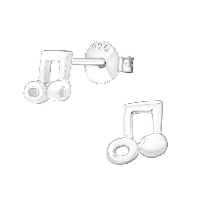 Zilveren kinderoorbellen: Muzieknoot egaal
