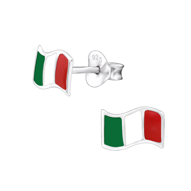 Zilveren kinderoorbellen: Wapperende vlag van Italië