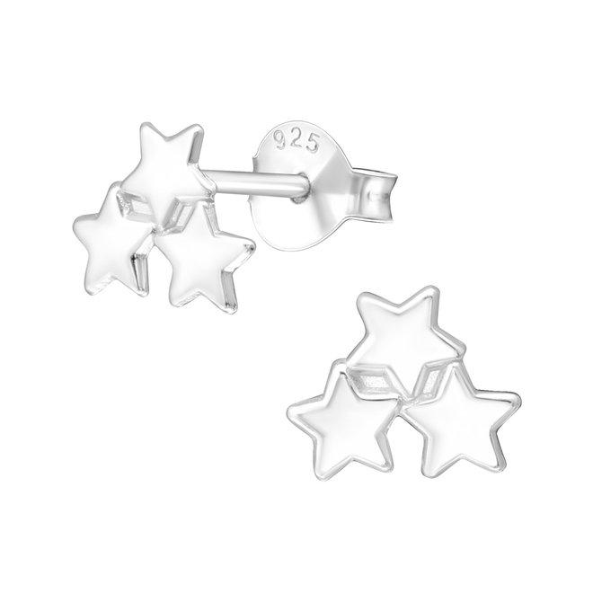 Zilveren kinderoorbellen: Drie sterretjes