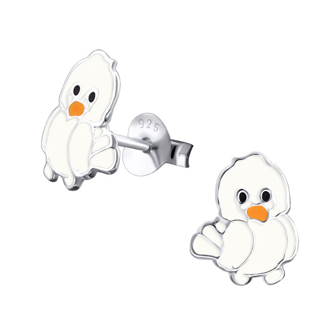 Zilveren kinderoorbellen: Paaskuiken wit