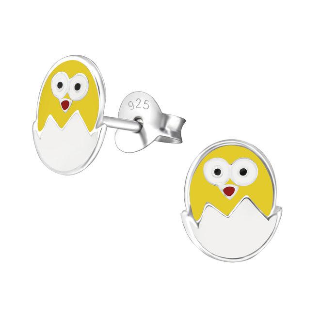 Zilveren kinderoorbellen: Ei met kuikentje
