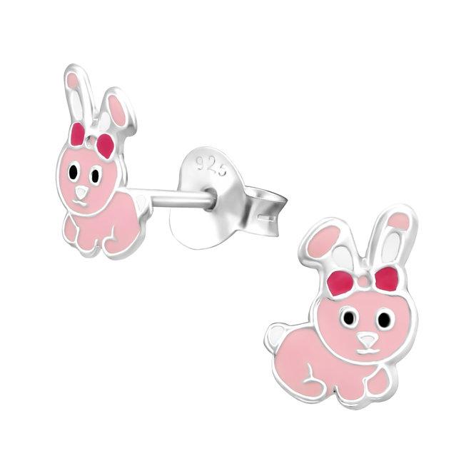 Zilveren kinderoorbellen: Roze konijntje