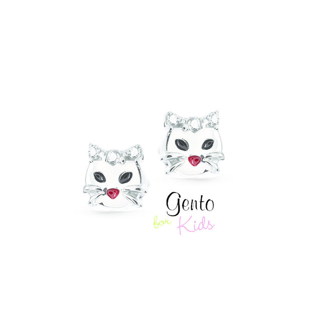 Gento for Kids oorstekers: Kat met zirkonia steentjes (klein)