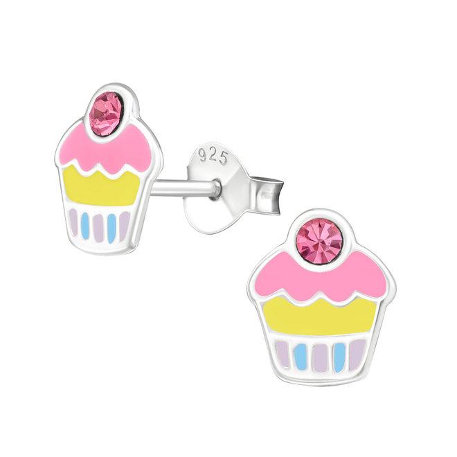 Zilveren kinderoorbellen: Cupcake met steentje