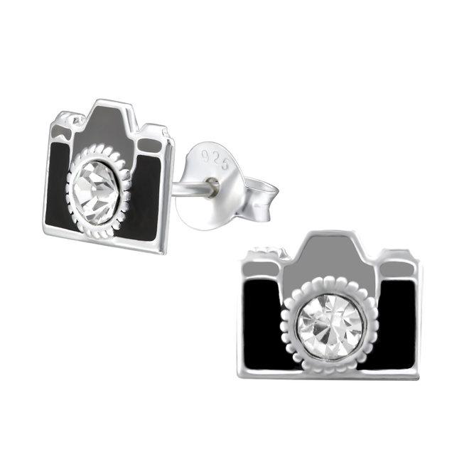 Zilveren kinderoorbellen: Zwarte camera met kristallen steentje