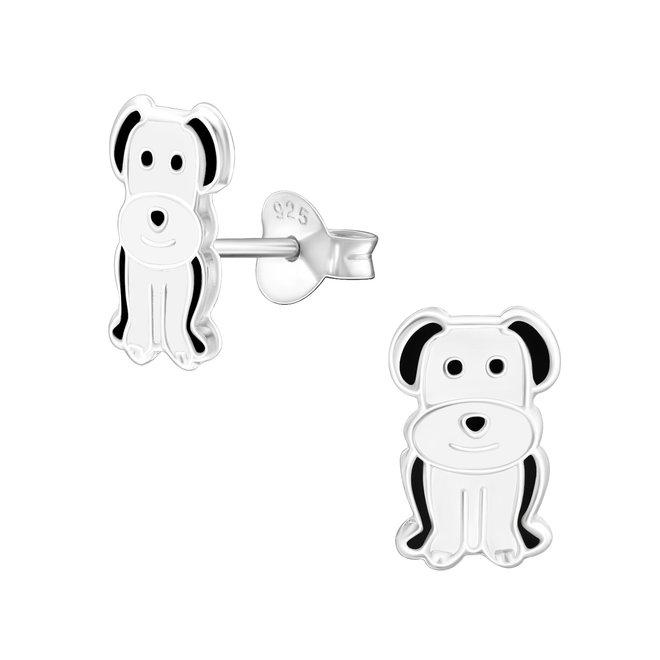 Zilveren kinderoorbellen: Witte hond met zwarte oortjes