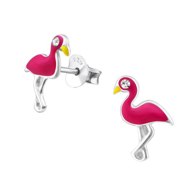 Zilveren kinderoorbellen: Flamingo met kristallen steentjes