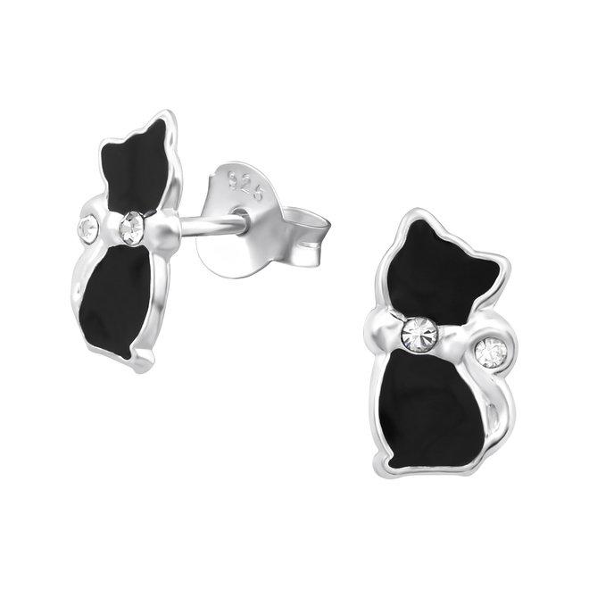Zilveren kinderoorbellen: Zwarte kat met kristallen steentje