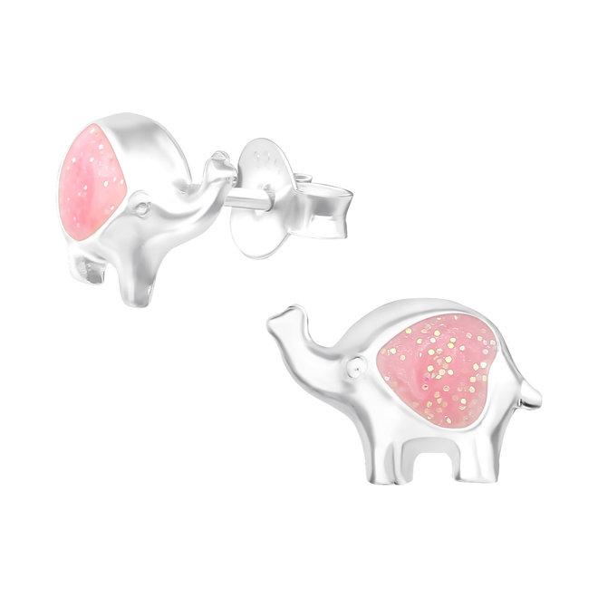 Zilveren kinderoorbellen: Roze olifant met glitters