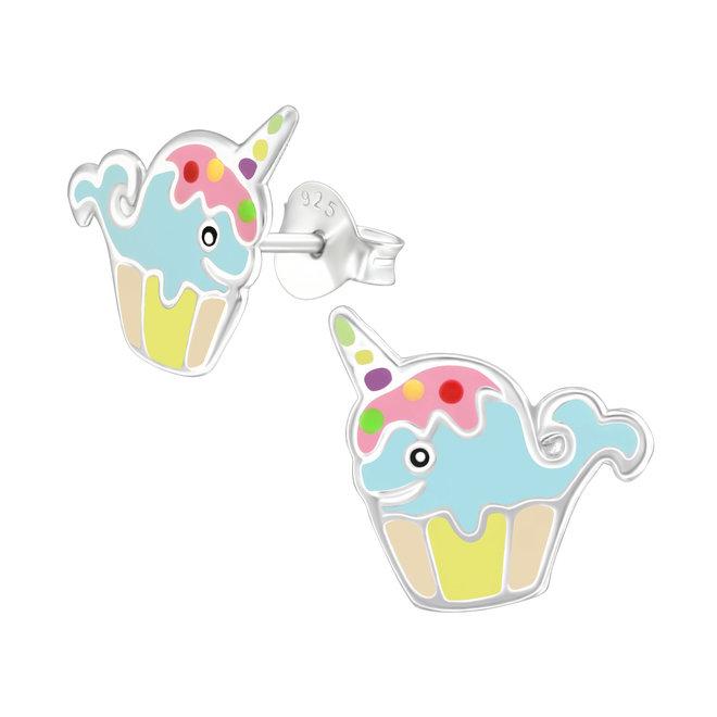 Zilveren kinderoorbellen: Kleurrijke vrolijke walvis