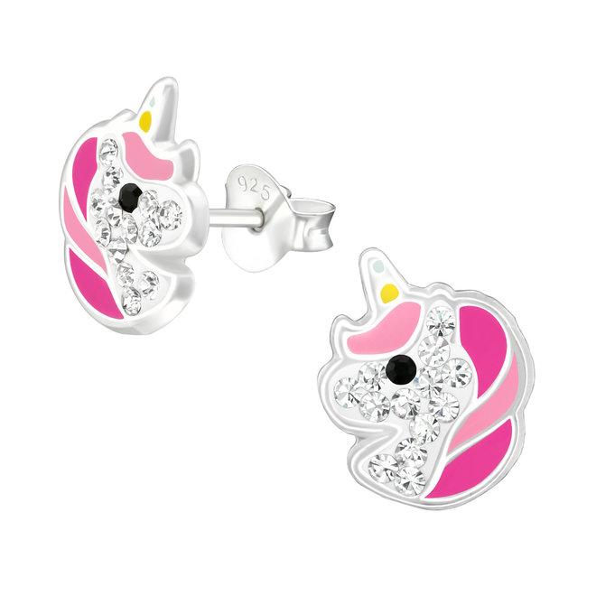 Zilveren kinderoorbellen: Eenhoorn met kristallen steentjes