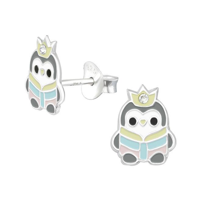 Zilveren kinderoorbellen: Pinguïn met kroontje