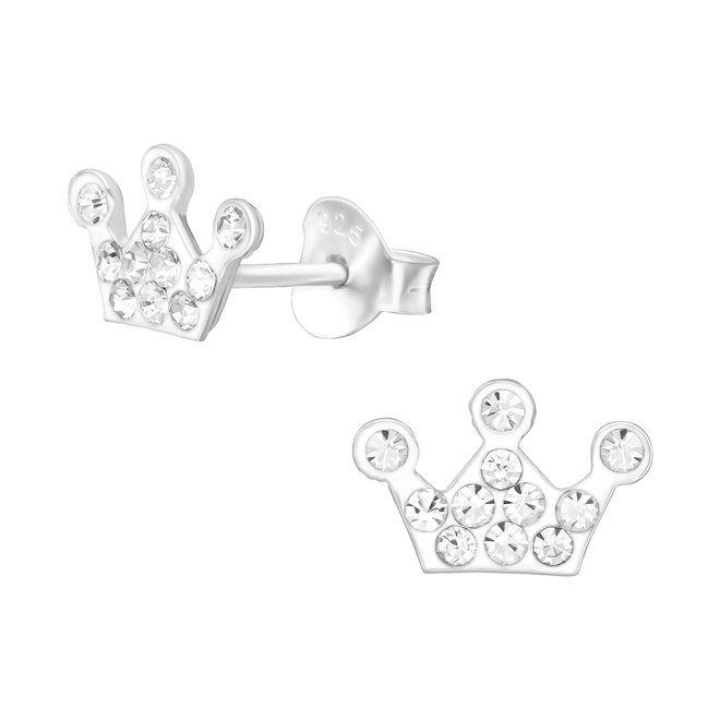 Zilveren kinderoorbellen: Kroon met kristallen steentjes
