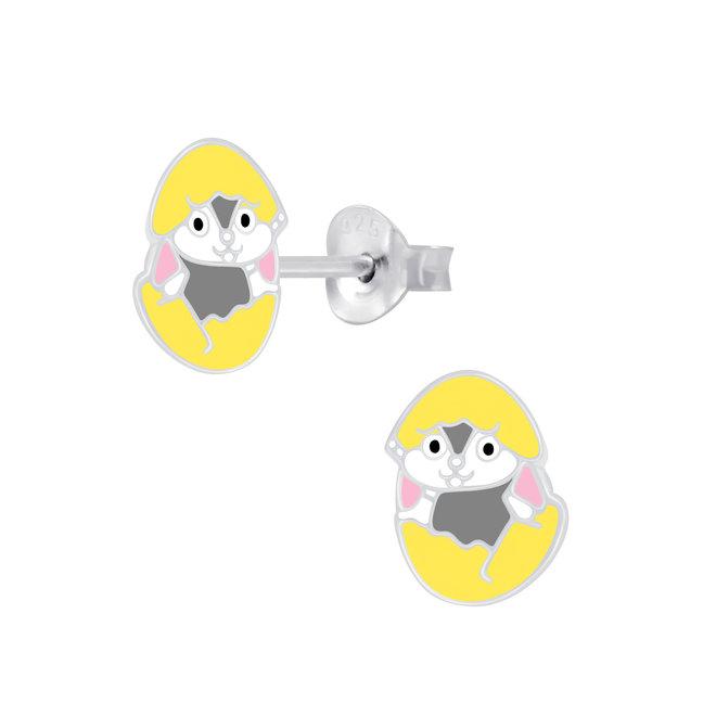 Zilveren kinderoorbellen: Konijntje in paasei