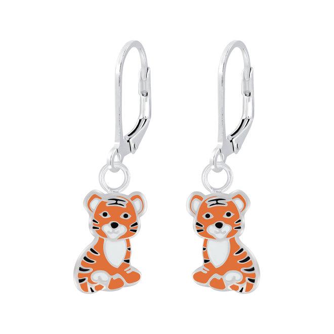 Zilveren kinderoorbellen: Schattige tijger met lief snoetje