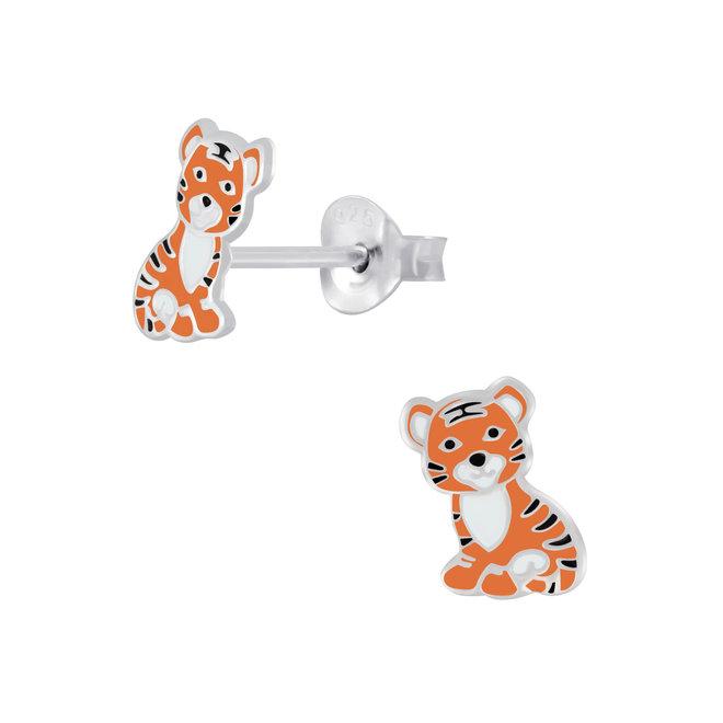 Zilveren kinderoorbellen: Schattige tijger