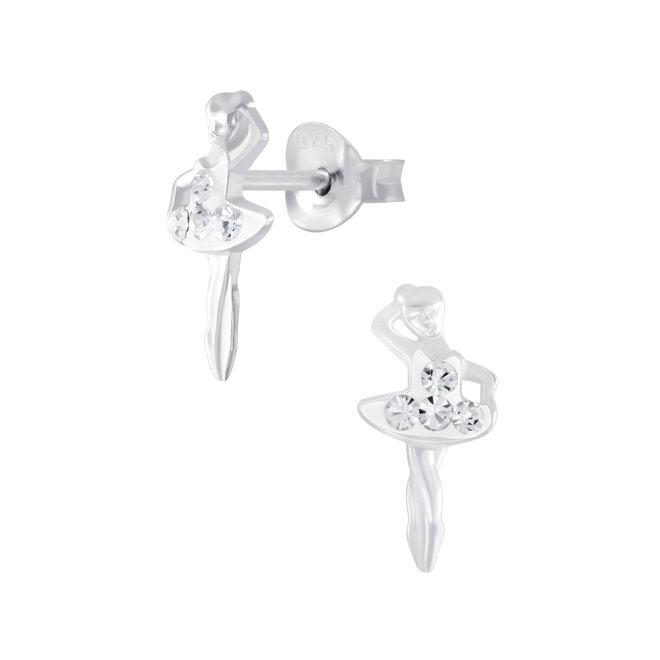 Zilveren kinderoorbellen: Ballerina met kristallen steentjes