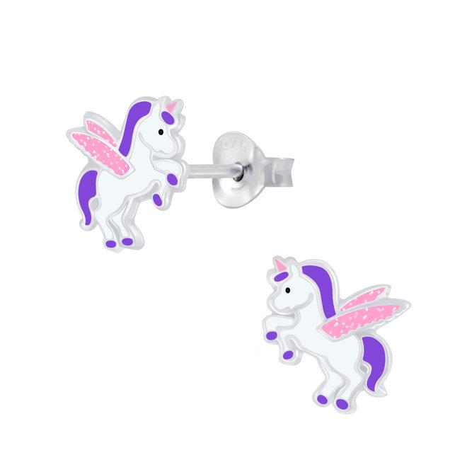 Zilveren kinderoorbellen: Eenhoorn met glitter