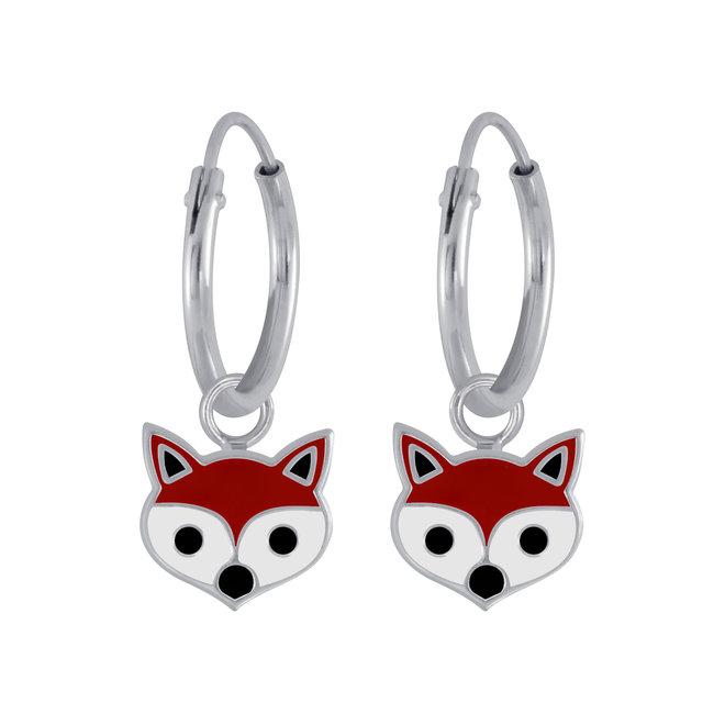 Zilveren kinderoorbellen: Schattige vos