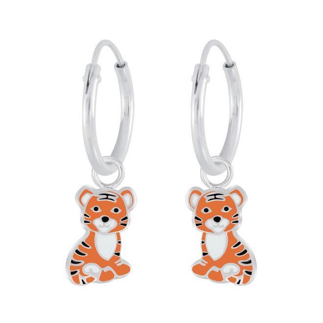 Zilveren kinderoorbellen: Schattig tijgertje