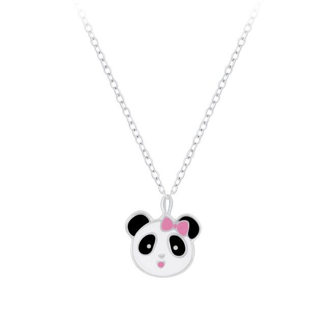 Zilveren hanger: Panda met roze strikje