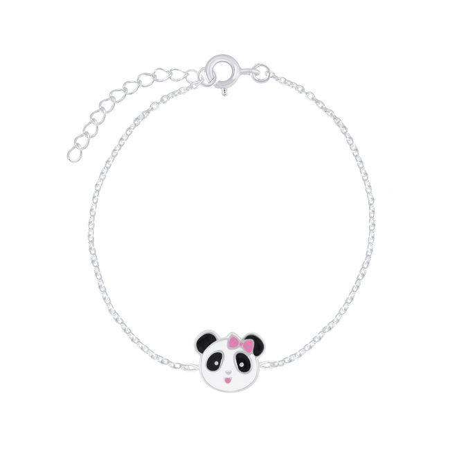 Zilveren kinderarmband: Panda met roze strikje