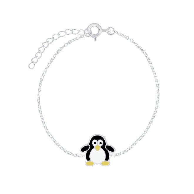 Zilveren kinderarmband: Schattige pinguïn