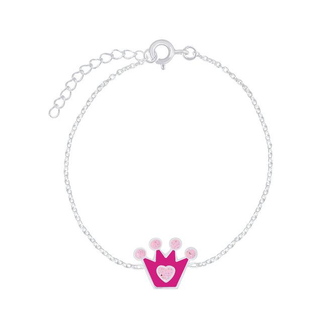 Zilveren kinderarmband: Kroon met hartje
