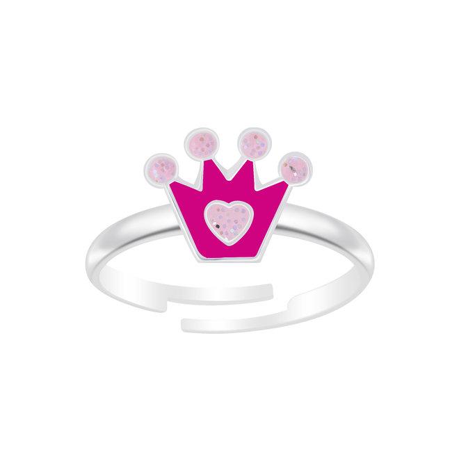 Zilveren ring: Kroon met hartje