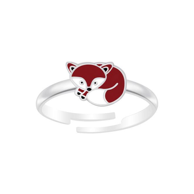 Zilveren ring: Schattige vos