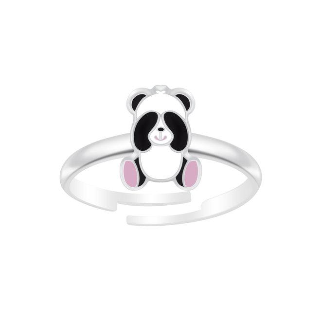 Zilveren ring: Schattige panda