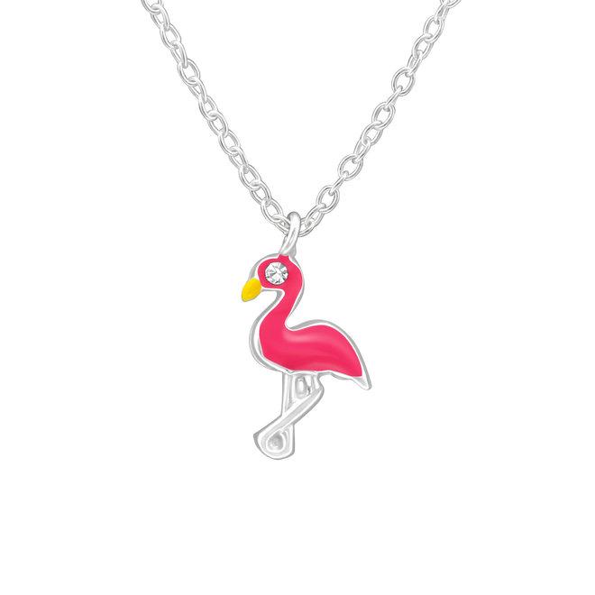 Zilveren hanger: Flamingo met kristallen steentje