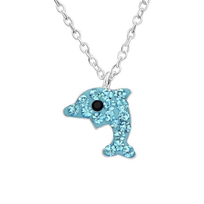 Zilveren hanger: Dolfijn met kristallen steentjes