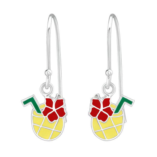 Zilveren kinderoorbellen: Ananas met rietje en bloem