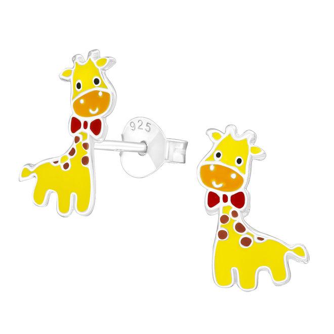 Zilveren kinderoorbellen: Giraf met strikje