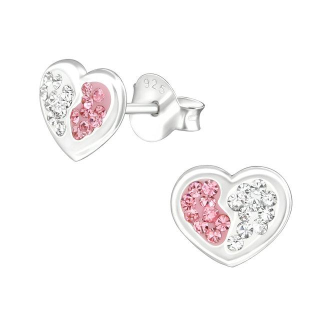 Zilveren kinderoorbellen: Hart met kristallen steentjes
