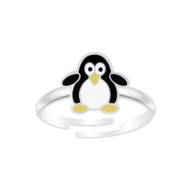 Zilveren ring: Schattige pinguïn