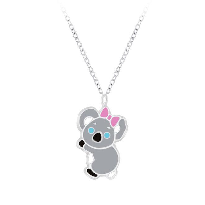 Zilveren hanger: Koala met roze strik