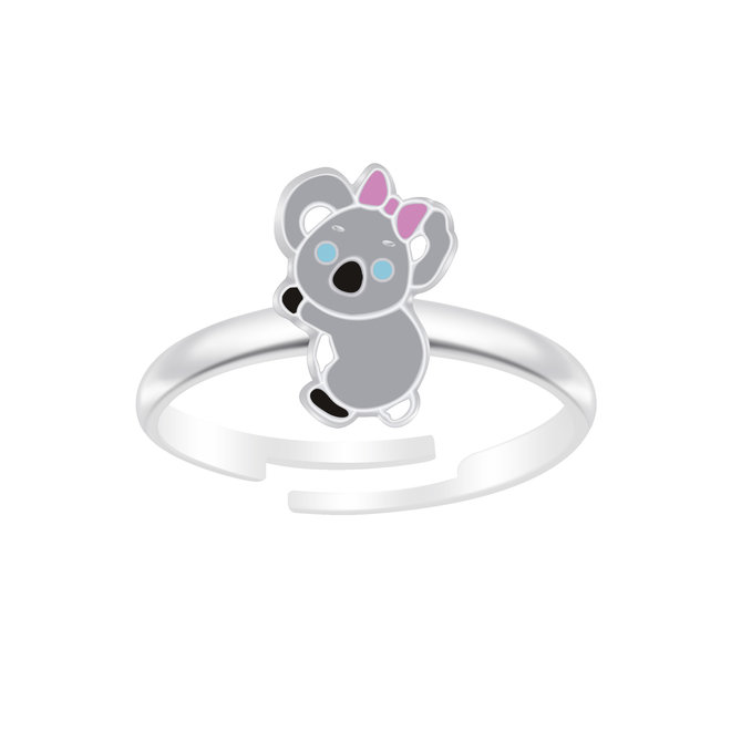 Zilveren ring: Koala met roze strik
