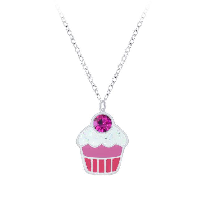 Zilveren hanger: Cupcake met steentje