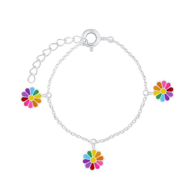 Zilveren kinderarmband: Kleurrijke bloem