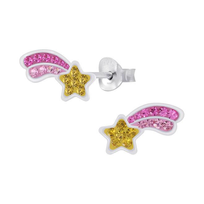 Zilveren kinderoorbellen: Vallende ster met kristallen steentjes