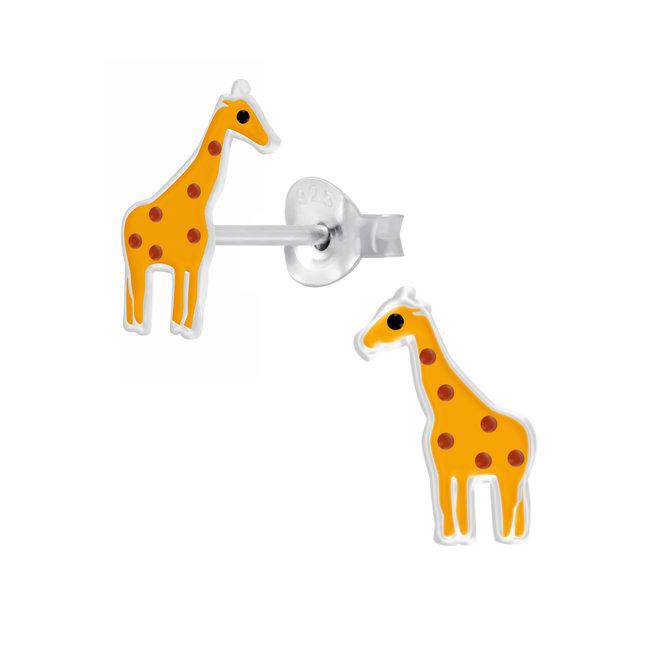 Zilveren kinderoorbellen: Schattige giraf