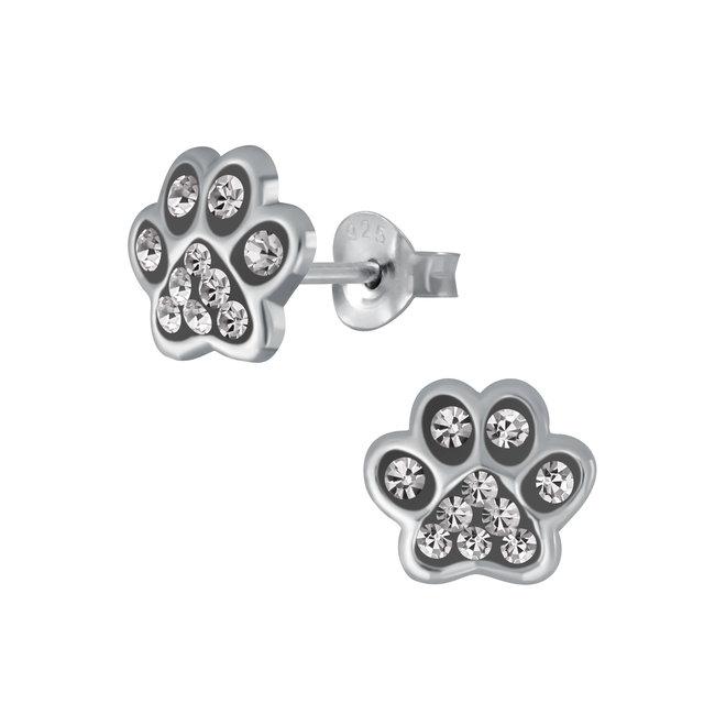 Zilveren kinderoorbellen: Pootafdruk met kristallen steentjes